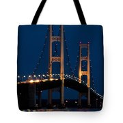 The Mackinaw Bridge At Night By The Straits Of Mackinac Tote Bag