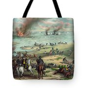 The Monitor And The Merrimac 1862 Tote Bag by Photo Researchers