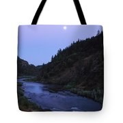 The Moon Appears Over The Rogue River Tote Bag