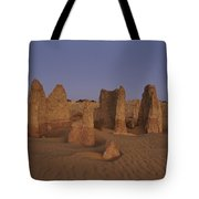 The Moon Rises Over Limestone Pinnacles Tote Bag