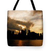 The New York City Skyline At Sunset Tote Bag