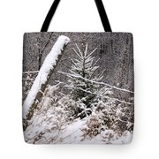The Old Fence - Snowy Evergreen Tote Bag