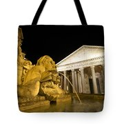 The Pantheon At Night. Piazza Della Rotonda.rome Tote Bag