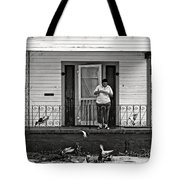 The Pigeon Lady - Black And White Tote Bag