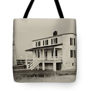 The Piney Point Lighthouse In Sepia Tote Bag
