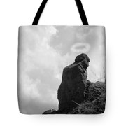 The Praying Monk With Halo - Camelback Mountain Bw Tote Bag by James BO  Insogna