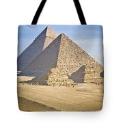 The Pyramids With Two Men On Camels Tote Bag