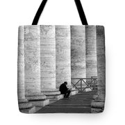 The Reader Amidst The Columns Bw Tote Bag