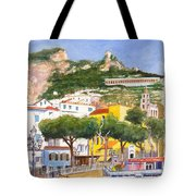 The Ruined Tower Above The Beach At Amalfi On The Southern Italian Coast Tote Bag
