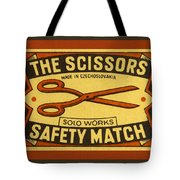 The Scissors Safety Match Tote Bag by Carol Leigh