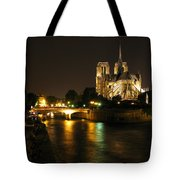 The Seine And Notre Dame At Night Tote Bag