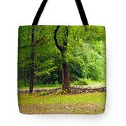 The Stone Wall Before The Cabin Tote Bag