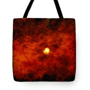 The Sun Peeks Through A Wall Of Flame Tote Bag