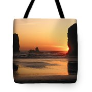 The Sun Sets Over The Sea Stacks Tote Bag