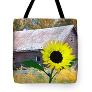 The Sunflower And The Barn Tote Bag