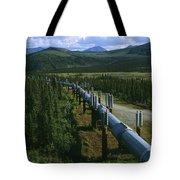 The Trans-alaska Pipeline Runs Tote Bag