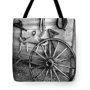 The Wagon Wheel Bw Tote Bag