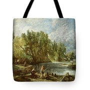 The Young Waltonians - Stratford Mill Tote Bag by John Constable