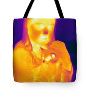 Thermogram Of A Girl And Cat Tote Bag
