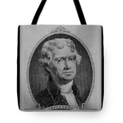Thomas Jefferson In Black And White Tote Bag