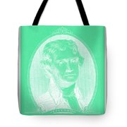 Thomas Jefferson In Negative Green Tote Bag