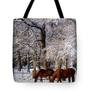 Thoroughbred Horses, Mares In Snow Tote Bag