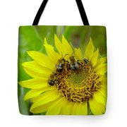 Three Bees Hunkering Down Tote Bag