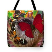 Three Butterflies On Protea Tote Bag