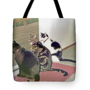 Three Cats Looking Out Into The Forest Tote Bag