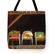 Three Chairs With A View Tote Bag