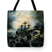 Three Crosses On Golgotha Grunge Background Tote Bag