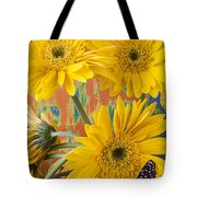 Three Daisy's And Butterfly Tote Bag