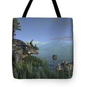 Three Estemmenosuchus Mirabilis Face Tote Bag