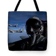 Three F-15 Eagles Fly High Tote Bag