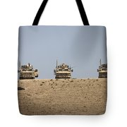 Three M-atvs Guard The Top Of The Wadi Tote Bag