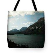 Three Mountains On Many Glacier Lake Tote Bag
