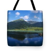 Three People On A Boat In The Lake Tote Bag
