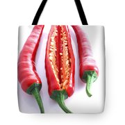 Three Red Chilli's With One Cut Open Tote Bag