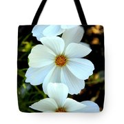 Three White Flowers Tote Bag