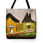 Three Yellow Houses With Picture Windows Tote Bag