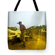 Through A Window On A Rainy Day Tote Bag