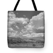 Thunderstorm Clouds Boiling Over The Colorado Rocky Mountains Bw Tote Bag