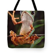 Tiger Striped Leaf Frog Waving Tote Bag