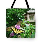 Tiger Swallowtail By The Bird Feeder  Tote Bag