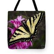 Tiger Swallowtail On Pink Hyacinth Tote Bag
