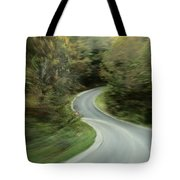 Time-exposed View Of Route 49 Taken Tote Bag