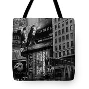 Times Square Black And White Tote Bag