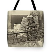 Tiny Biker 2 Sepia Tote Bag