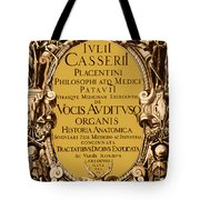 Title Page, Giulio Casserios Anatomy Tote Bag by Science Source