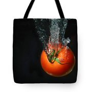 Tomato Falling Into Water Tote Bag